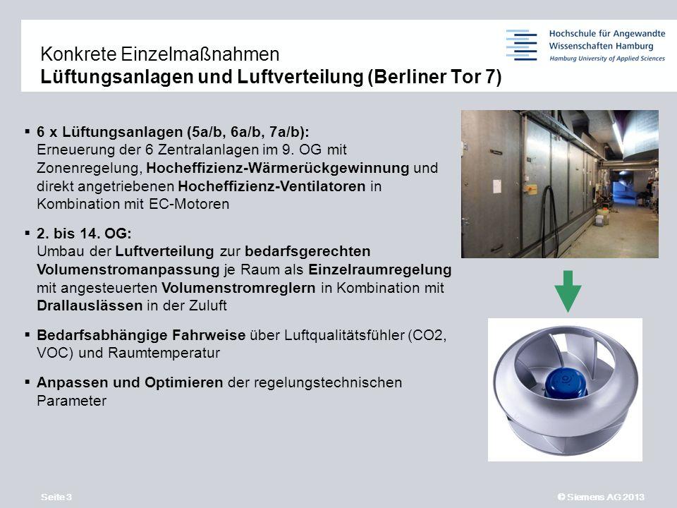Seite 3 © Siemens AG 2013 11,2011,9011,600,400,00 8,80 6,10 5,10 4,40 1,20 1,60 7,90 8,60 6 x Lüftungsanlagen (5a/b, 6a/b, 7a/b): Erneuerung der 6 Zentralanlagen im 9.