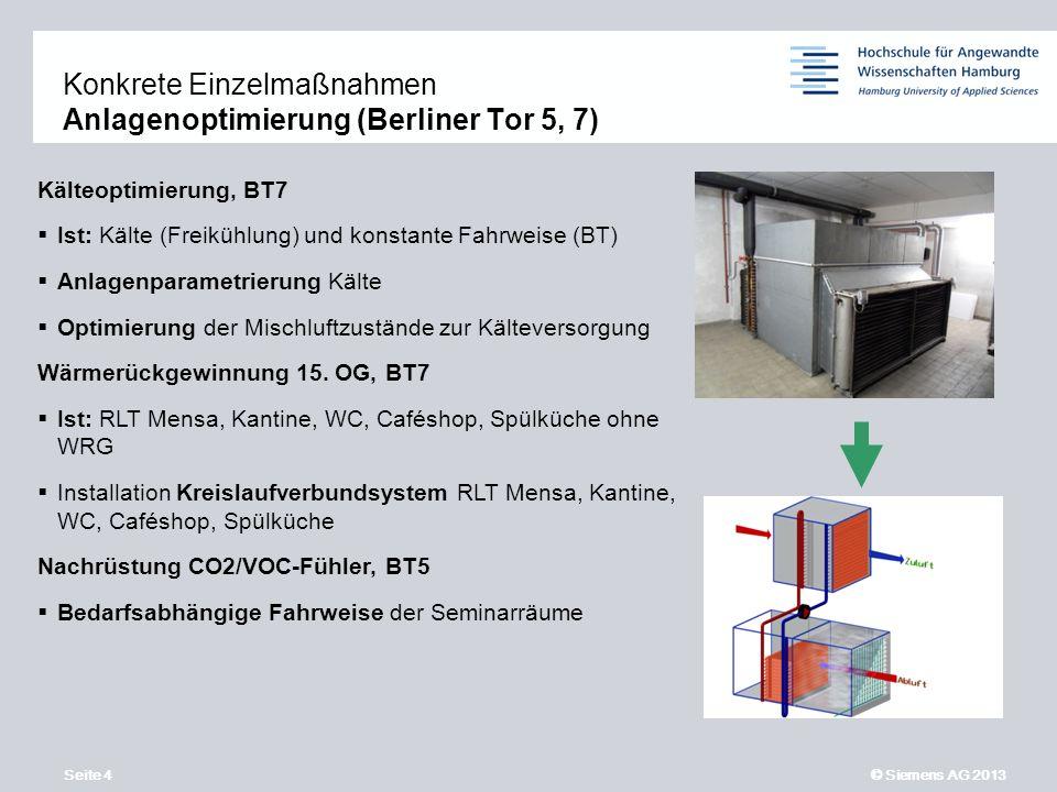 Seite 4 © Siemens AG 2013 11,2011,9011,600,400,00 8,80 6,10 5,10 4,40 1,20 1,60 7,90 8,60 Kälteoptimierung, BT7 Ist: Kälte (Freikühlung) und konstante Fahrweise (BT) Anlagenparametrierung Kälte Optimierung der Mischluftzustände zur Kälteversorgung Wärmerückgewinnung 15.