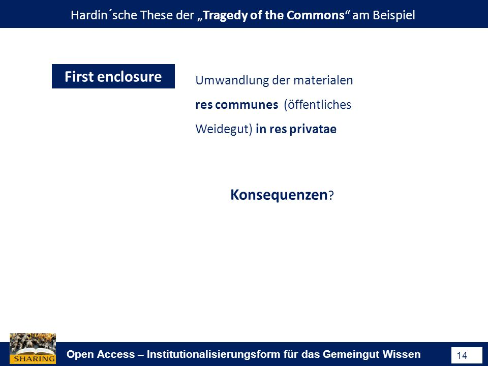 Open Access – Institutionalisierungsform für das Gemeingut Wissen 14 Hardin´sche These der Tragedy of the Commons am Beispiel First enclosure Umwandlu