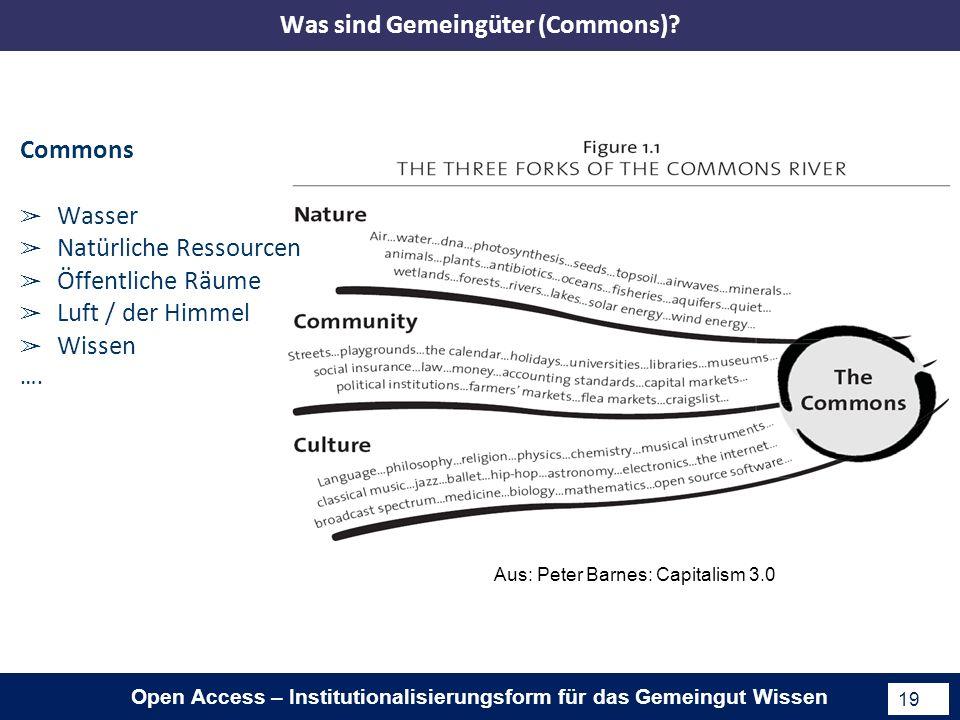 Open Access – Institutionalisierungsform für das Gemeingut Wissen 19 Aus: Peter Barnes: Capitalism 3.0 Commons Wasser Natürliche Ressourcen Öffentliche Räume Luft / der Himmel Wissen ….