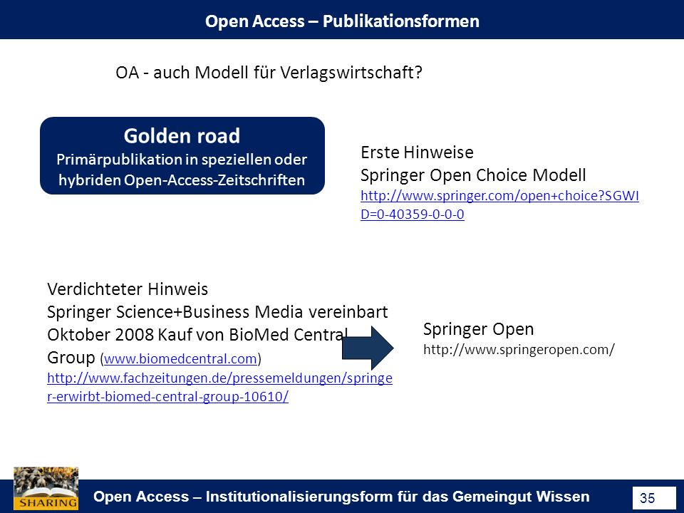 Open Access – Institutionalisierungsform für das Gemeingut Wissen 35 Open Access – Publikationsformen Golden road Primärpublikation in speziellen oder hybriden Open-Access-Zeitschriften OA - auch Modell für Verlagswirtschaft.