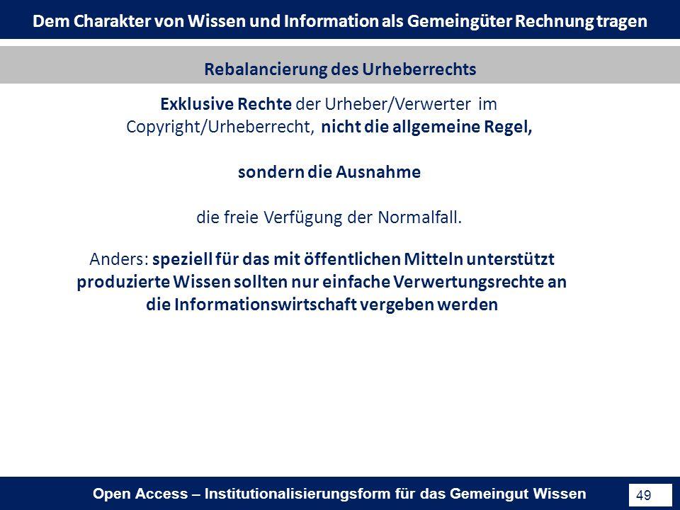 Open Access – Institutionalisierungsform für das Gemeingut Wissen 49 Exklusive Rechte der Urheber/Verwerter im Copyright/Urheberrecht, nicht die allgemeine Regel, sondern die Ausnahme die freie Verfügung der Normalfall.