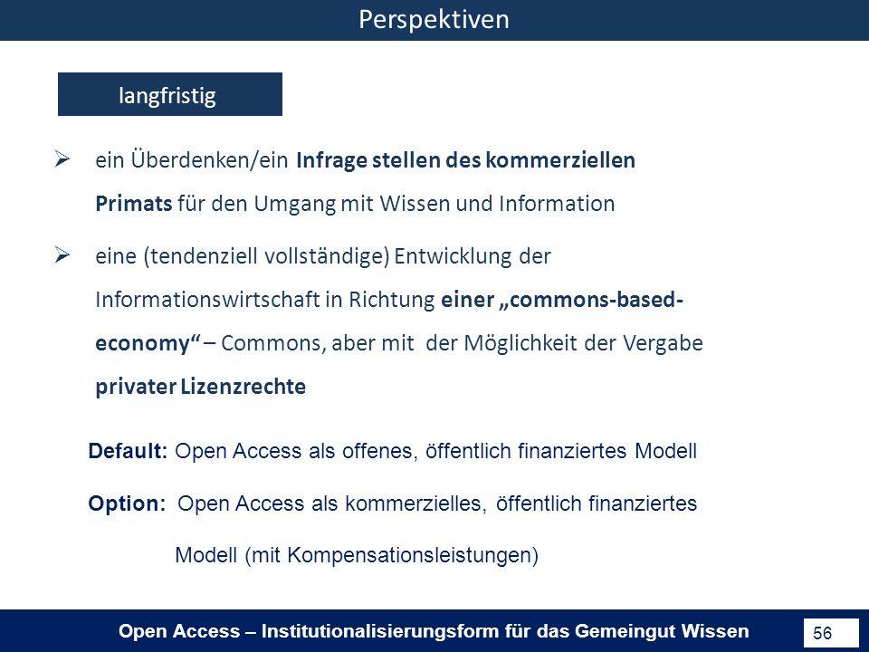 Open Access – Institutionalisierungsform für das Gemeingut Wissen 56 langfristig: eine (tendenziell vollständige) Entwicklung der Informationswirtschaft in Richtung einer commons-based- economy – Commons, aber mit der Möglichkeit der Vergabe privater Lizenzrechte ein Überdenken/ein Infrage stellen des kommerziellen Primats für den Umgang mit Wissen und Information Perspektiven Default: Open Access als offenes, öffentlich finanziertes Modell Option: Open Access als kommerzielles, öffentlich finanziertes Modell (mit Kompensationsleistungen)
