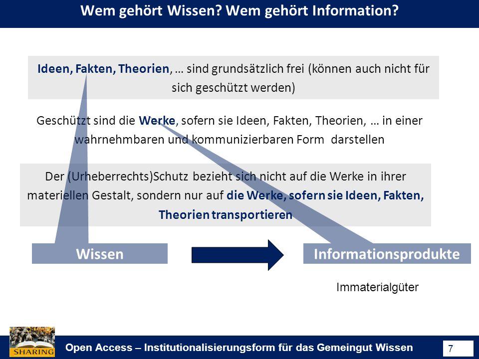 Open Access – Institutionalisierungsform für das Gemeingut Wissen 7 Wem gehört Wissen.