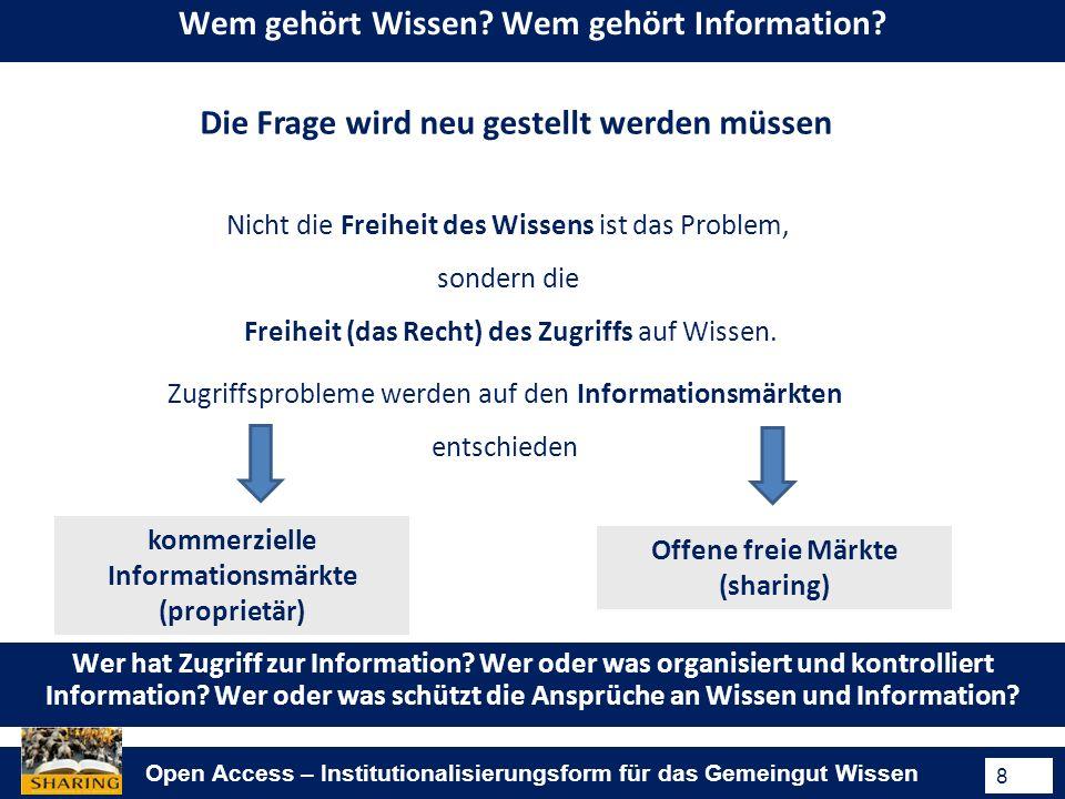 Open Access – Institutionalisierungsform für das Gemeingut Wissen 8 Wem gehört Wissen.