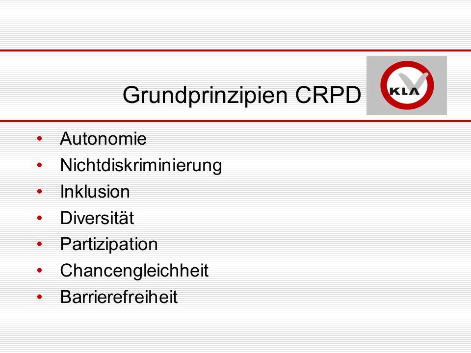 Grundprinzipien CRPD Autonomie Nichtdiskriminierung Inklusion Diversität Partizipation Chancengleichheit Barrierefreiheit