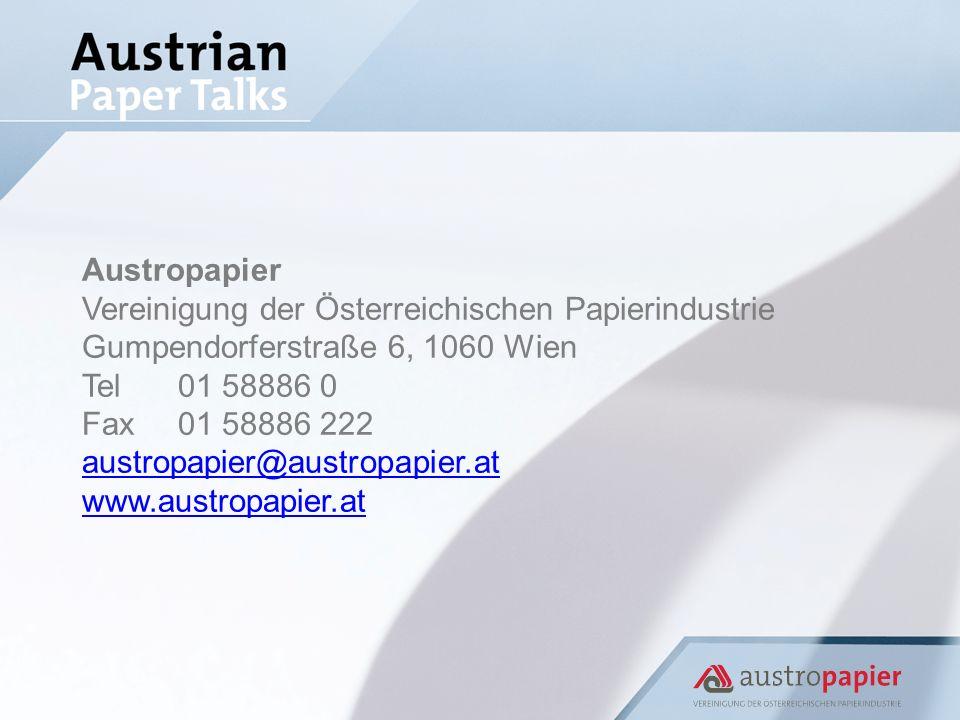 Austropapier Vereinigung der Österreichischen Papierindustrie Gumpendorferstraße 6, 1060 Wien Tel01 58886 0 Fax01 58886 222 austropapier@austropapier.