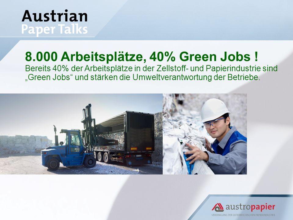 8.000 Arbeitsplätze, 40% Green Jobs ! Bereits 40% der Arbeitsplätze in der Zellstoff- und Papierindustrie sind Green Jobs und stärken die Umweltverant
