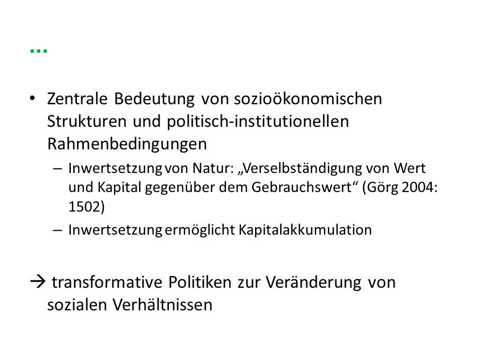 ... Zentrale Bedeutung von sozioökonomischen Strukturen und politisch-institutionellen Rahmenbedingungen – Inwertsetzung von Natur: Verselbständigung