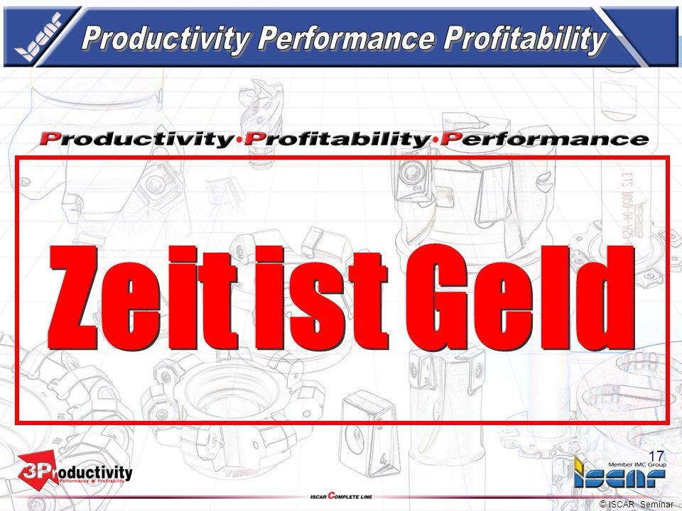 © ISCAR Seminar 16 -15% Standzeit -1.5% Preis -1.0% Der Einfluss der richtigen Werkzeuge Erhöhung der Schnittparameter und Prozessoptimierung