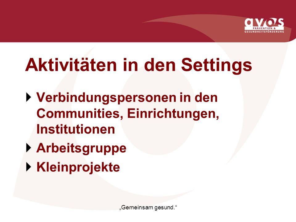 Aktivitäten in den Settings Verbindungspersonen in den Communities, Einrichtungen, Institutionen Arbeitsgruppe Kleinprojekte Gemeinsam gesund.