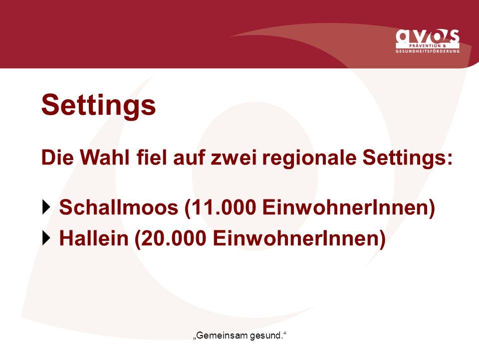 Settings Die Wahl fiel auf zwei regionale Settings: Schallmoos (11.000 EinwohnerInnen) Hallein (20.000 EinwohnerInnen) Gemeinsam gesund.