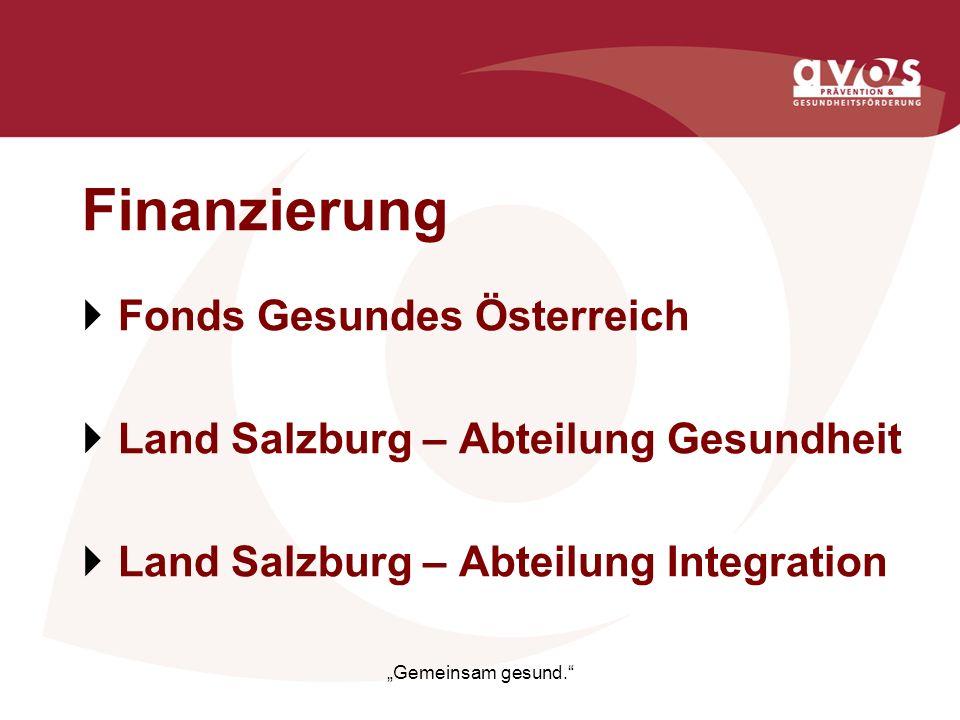 Finanzierung Fonds Gesundes Österreich Land Salzburg – Abteilung Gesundheit Land Salzburg – Abteilung Integration Gemeinsam gesund.