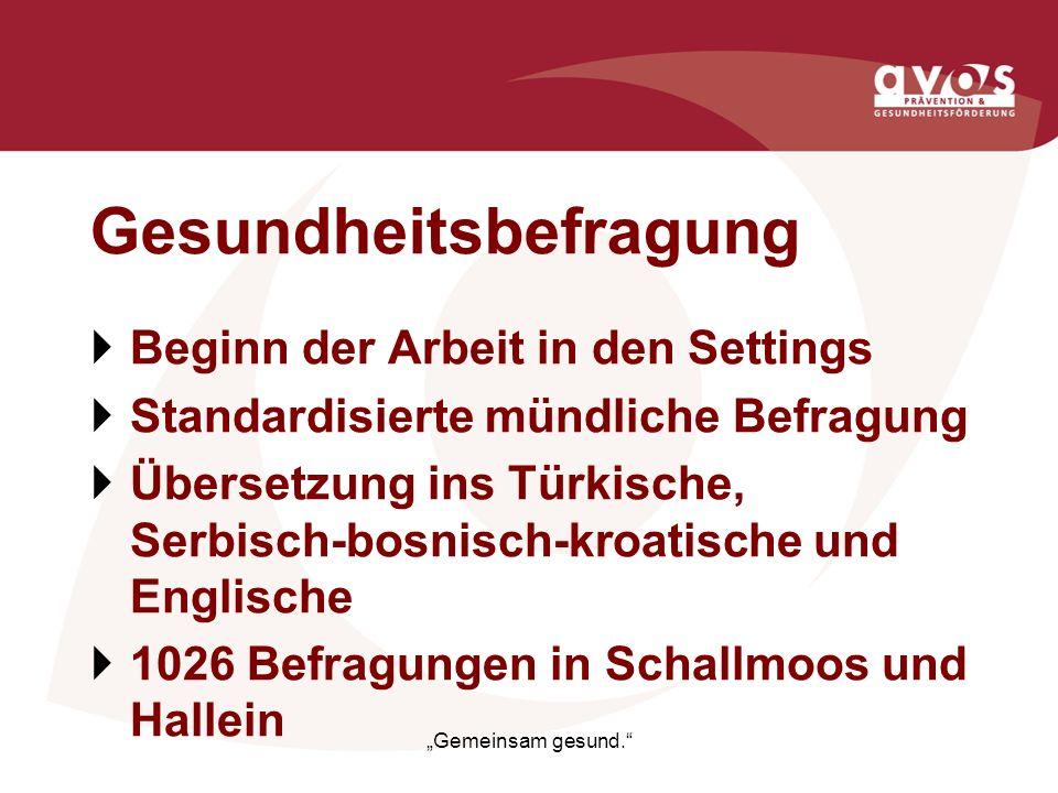 Gesundheitsbefragung Beginn der Arbeit in den Settings Standardisierte mündliche Befragung Übersetzung ins Türkische, Serbisch-bosnisch-kroatische und