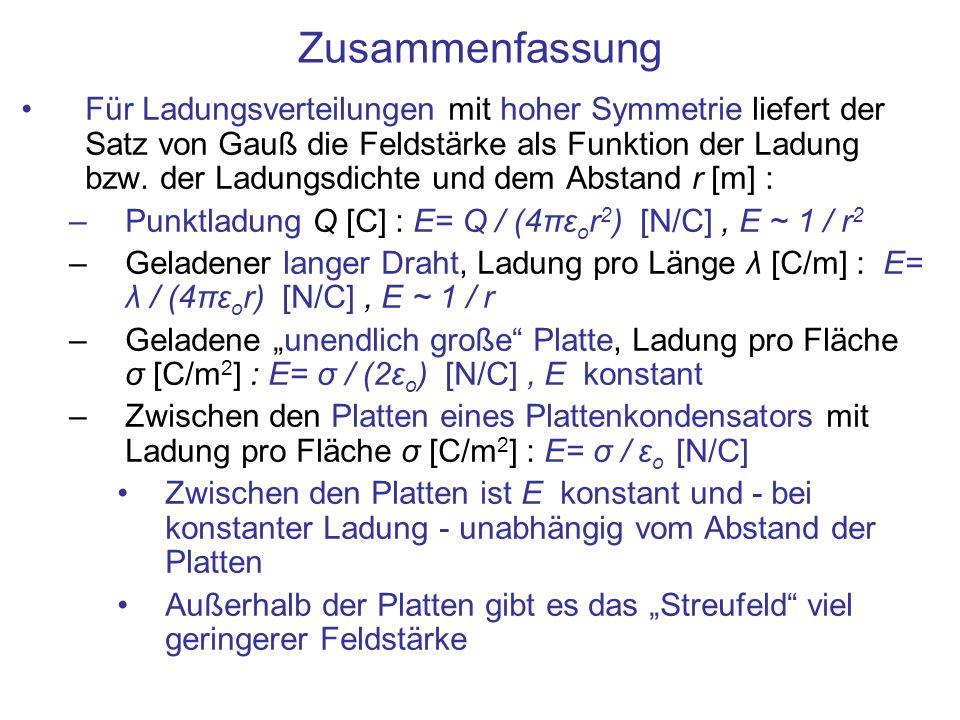 Zusammenfassung Für Ladungsverteilungen mit hoher Symmetrie liefert der Satz von Gauß die Feldstärke als Funktion der Ladung bzw. der Ladungsdichte un