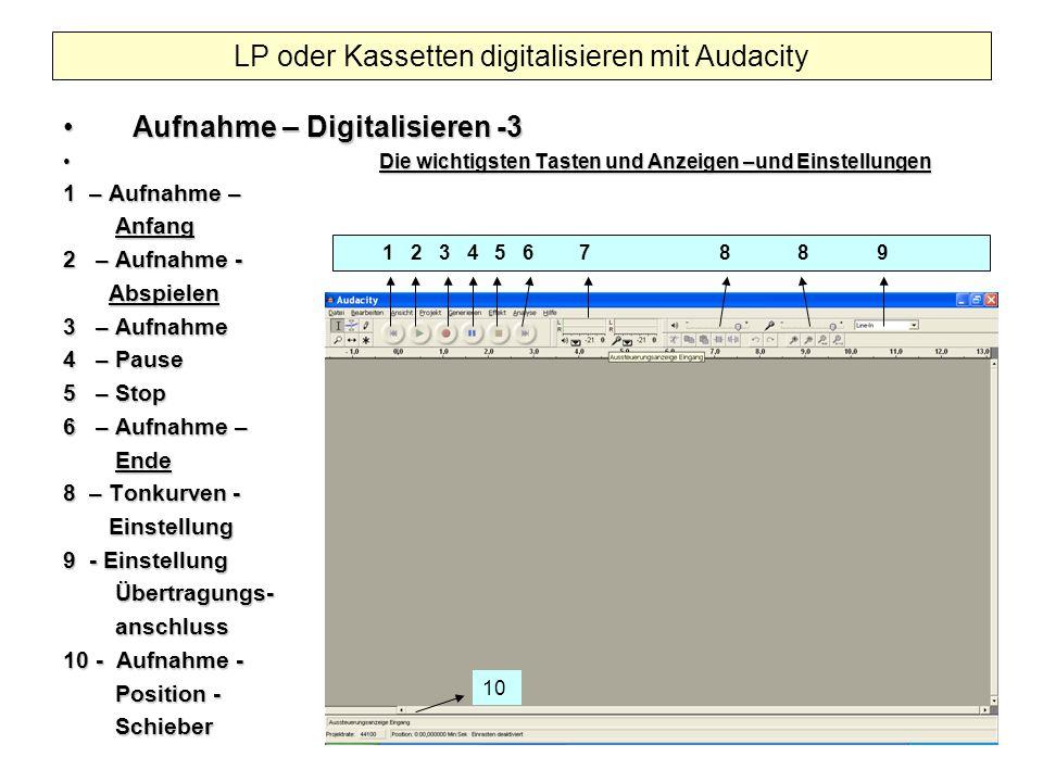 Aufnahme – Digitalisieren -3Aufnahme – Digitalisieren -3 Die wichtigsten Tasten und Anzeigen –und Einstellungen Die wichtigsten Tasten und Anzeigen –u