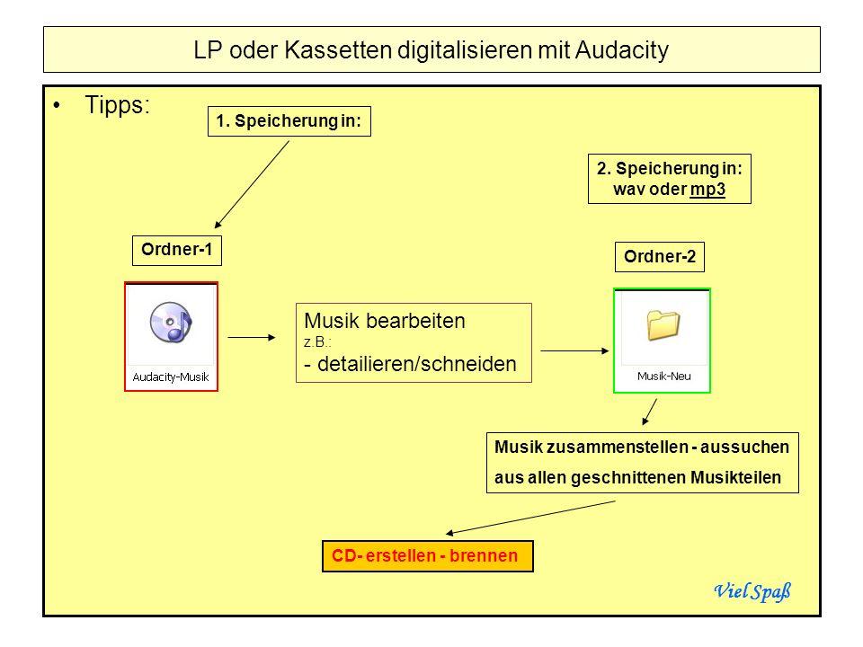 Tipps: LP oder Kassetten digitalisieren mit Audacity Ordner-1 Ordner-2 Musik bearbeiten z.B.: - detailieren/schneiden 1. Speicherung in: 2. Speicherun