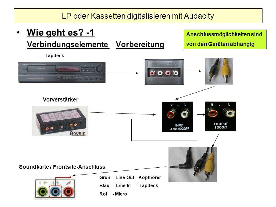 Wie geht es? -1 Verbindungselemente Vorbereitung LP oder Kassetten digitalisieren mit Audacity Tapdeck Vorverstärker Soundkarte / Frontsite-Anschluss