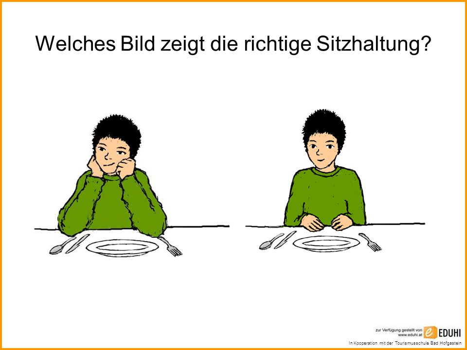 In Kooperation mit der Tourismusschule Bad Hofgastein Welches Bild zeigt die richtige Sitzhaltung?