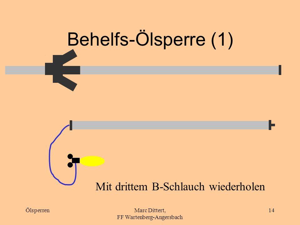 ÖlsperrenMarc Dittert, FF Wartenberg-Angersbach 13 Behelfs-Ölsperre 3 B-Schläuche 1 Verteiler B-Blindkupplung oder Verteiler oder B- Strahlrohr 2 B-Bl