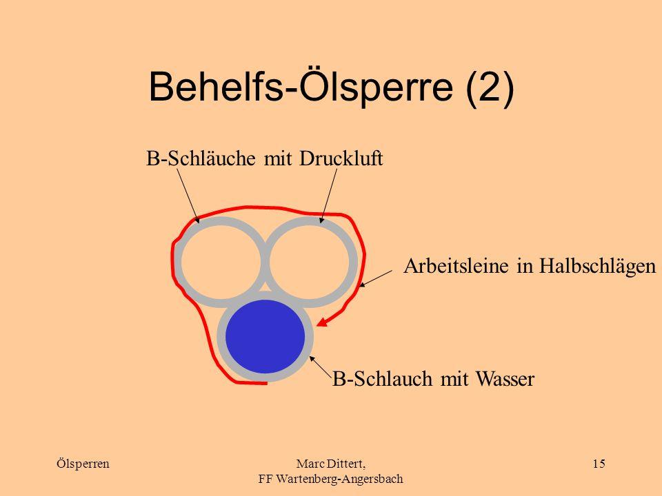 ÖlsperrenMarc Dittert, FF Wartenberg-Angersbach 14 Behelfs-Ölsperre (1) Mit drittem B-Schlauch wiederholen