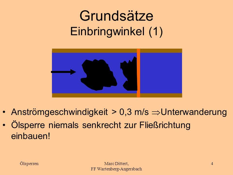 ÖlsperrenMarc Dittert, FF Wartenberg-Angersbach 3 Vorbereitende Maßnahmen Fließrichtung und -geschwindigkeit Breite, Wassertiefe, Uferbeschaffenheit V