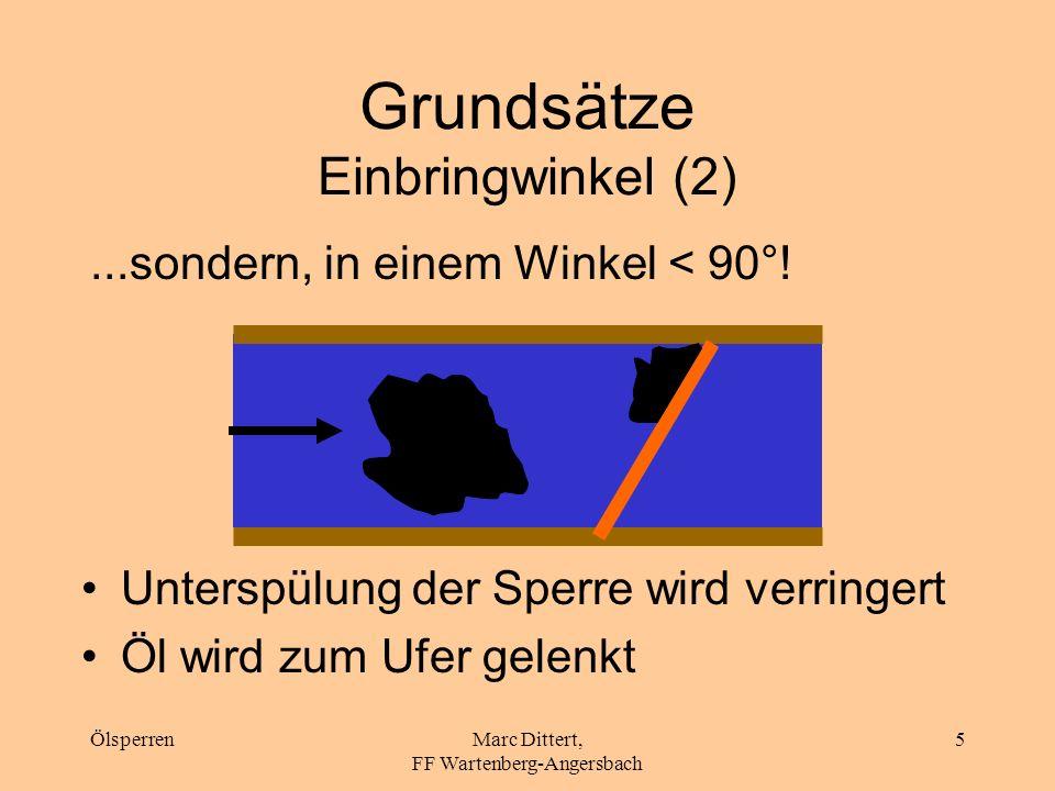 ÖlsperrenMarc Dittert, FF Wartenberg-Angersbach 4 Grundsätze Einbringwinkel (1) Anströmgeschwindigkeit > 0,3 m/s Unterwanderung Ölsperre niemals senkr
