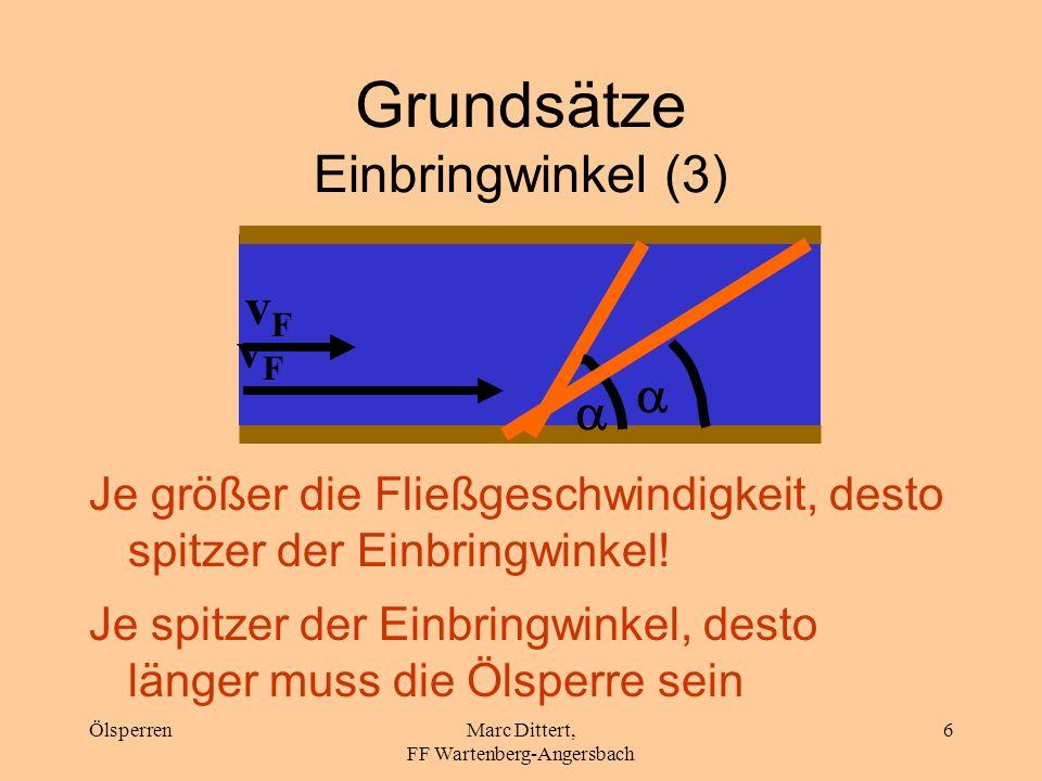 ÖlsperrenMarc Dittert, FF Wartenberg-Angersbach 5 Grundsätze Einbringwinkel (2)...sondern, in einem Winkel < 90°! Unterspülung der Sperre wird verring