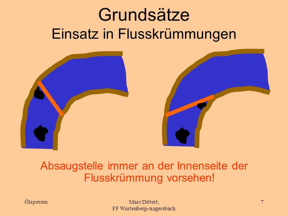 ÖlsperrenMarc Dittert, FF Wartenberg-Angersbach 6 Grundsätze Einbringwinkel (3) Je größer die Fließgeschwindigkeit, desto spitzer der Einbringwinkel!