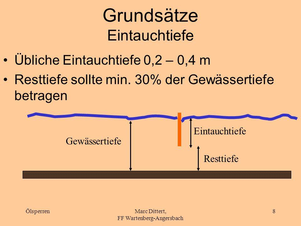 ÖlsperrenMarc Dittert, FF Wartenberg-Angersbach 7 Grundsätze Einsatz in Flusskrümmungen Absaugstelle immer an der Innenseite der Flusskrümmung vorsehe