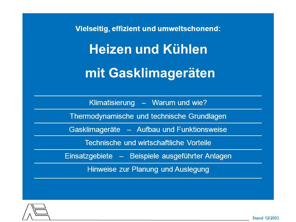 Stand 12/2003 Vielseitig, effizient und umweltschonend: Heizen und Kühlen mit Gasklimageräten Klimatisierung – Warum und wie? Thermodynamische und tec