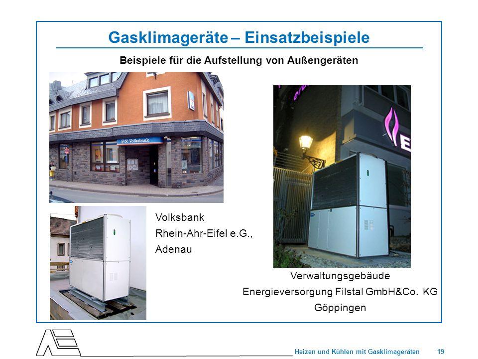 19 Heizen und Kühlen mit Gasklimageräten Gasklimageräte – Einsatzbeispiele Beispiele für die Aufstellung von Außengeräten Verwaltungsgebäude Energieve