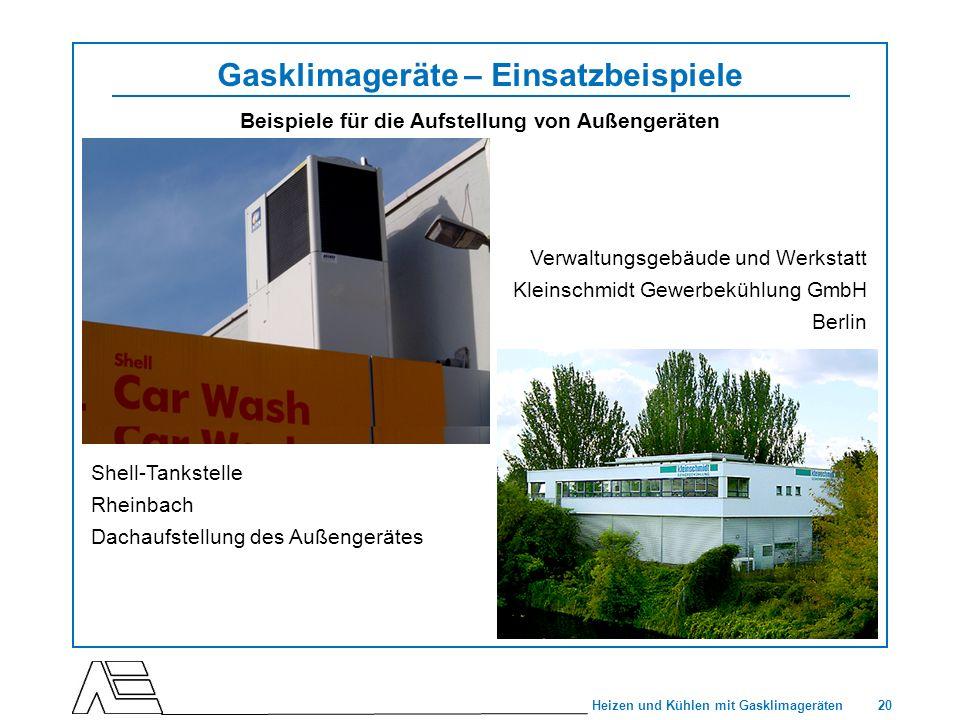 20 Heizen und Kühlen mit Gasklimageräten Gasklimageräte – Einsatzbeispiele Beispiele für die Aufstellung von Außengeräten Verwaltungsgebäude und Werks