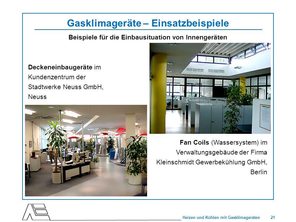 21 Heizen und Kühlen mit Gasklimageräten Gasklimageräte – Einsatzbeispiele Beispiele für die Einbausituation von Innengeräten Fan Coils (Wassersystem)