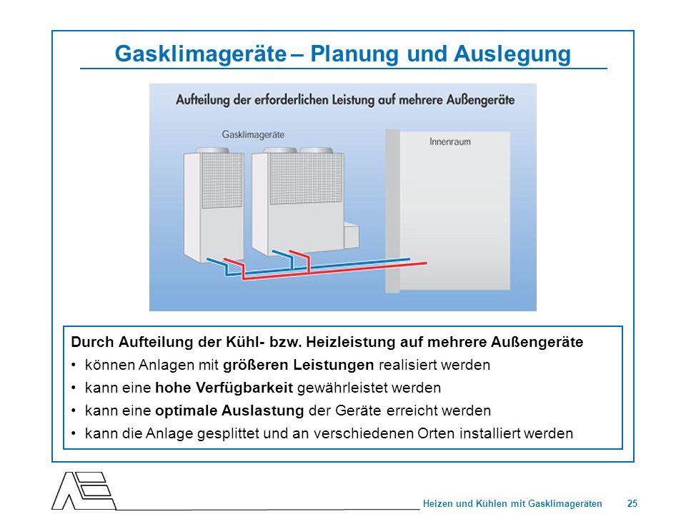 25 Heizen und Kühlen mit Gasklimageräten Gasklimageräte – Planung und Auslegung Durch Aufteilung der Kühl- bzw. Heizleistung auf mehrere Außengeräte k