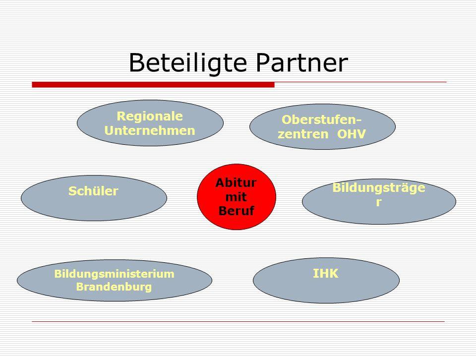 Beteiligte Partner Regionale Unternehmen Abitur mit Beruf Oberstufen- zentren OHV Schüler Bildungsträge r Bildungsministerium Brandenburg IHK