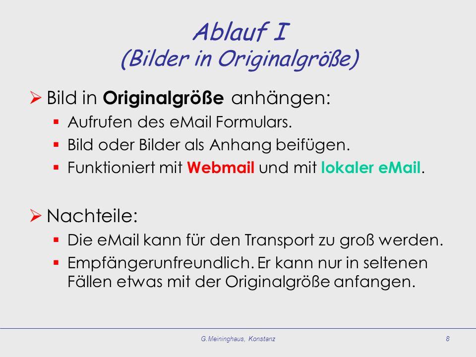 G.Meininghaus, Konstanz8 Ablauf I (Bilder in Originalgröße) Bild in Originalgröße anhängen: Aufrufen des eMail Formulars.