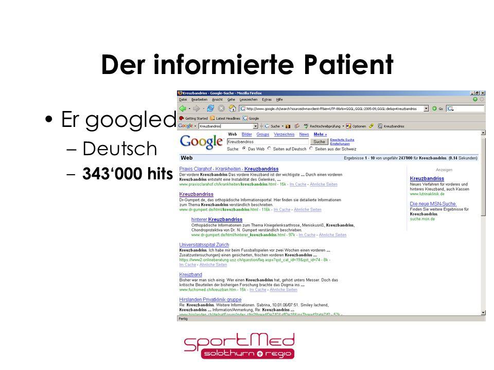 Der informierte Patient Er googled –Englisch! 13 Mio !