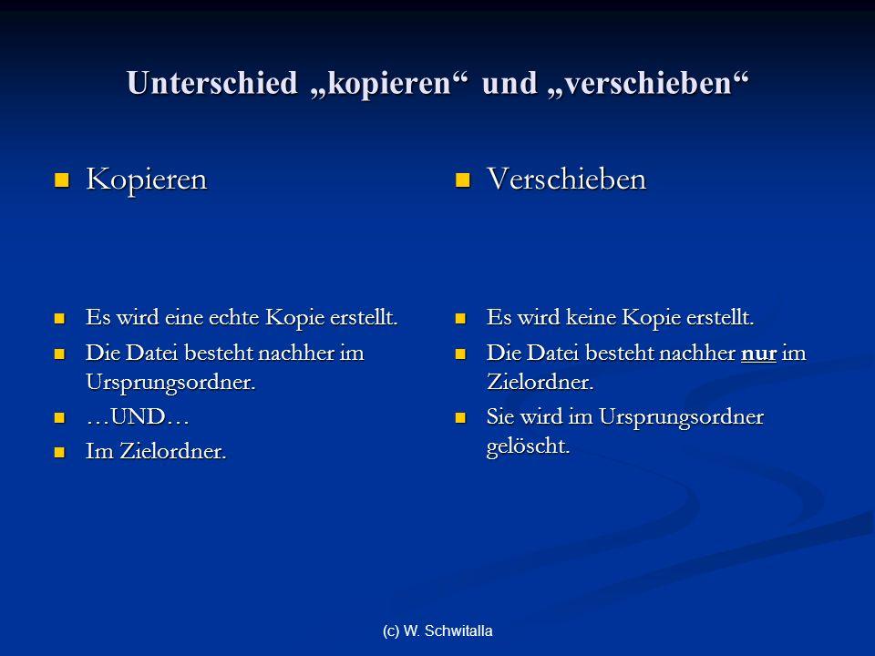 (c) W. Schwitalla Unterschied kopieren und verschieben Kopieren Kopieren Es wird eine echte Kopie erstellt. Es wird eine echte Kopie erstellt. Die Dat