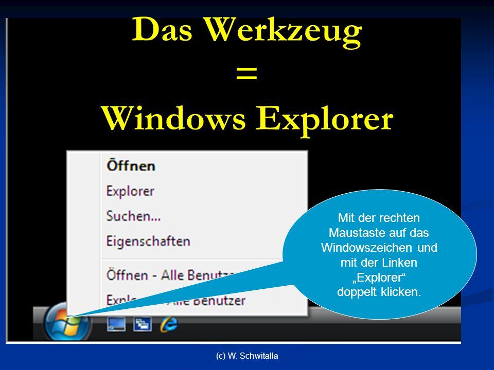 (c) W. Schwitalla Das Werkzeug = Windows Explorer Mit der rechten Maustaste auf das Windowszeichen und mit der Linken Explorer doppelt klicken.