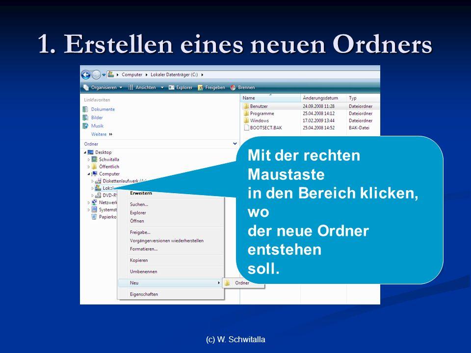 (c) W. Schwitalla 1. Erstellen eines neuen Ordners Mit der rechten Maustaste in den Bereich klicken, wo der neue Ordner entstehen soll.
