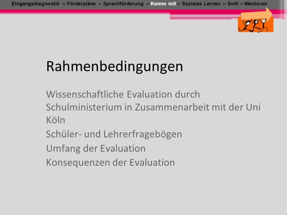 Wissenschaftliche Evaluation durch Schulministerium in Zusammenarbeit mit der Uni Köln Schüler- und Lehrerfragebögen Umfang der Evaluation Konsequenze