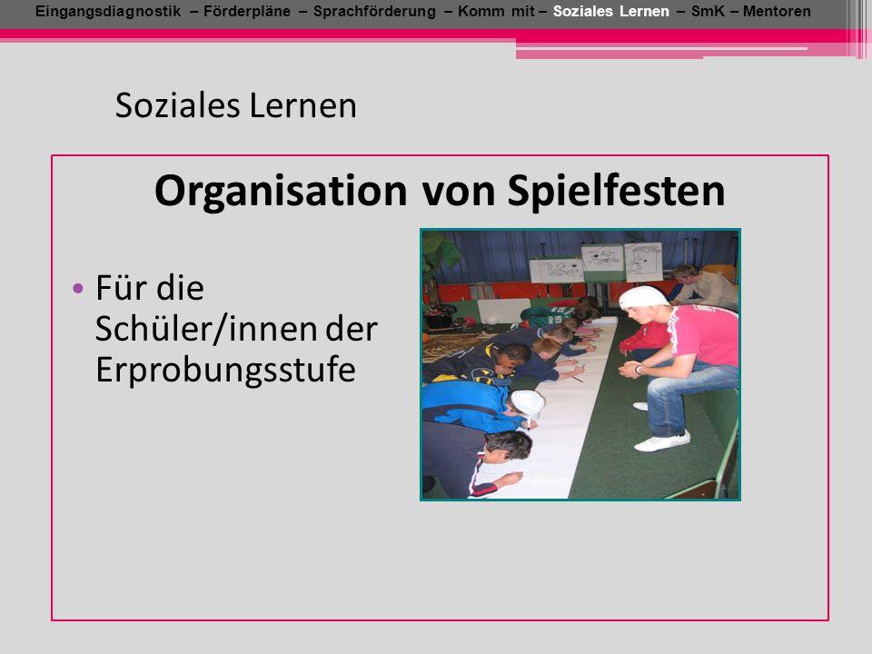 Soziales Lernen Eingangsdiagnostik – Förderpläne – Sprachförderung – Komm mit – Soziales Lernen – SmK – Mentoren Organisation von Spielfesten Für die