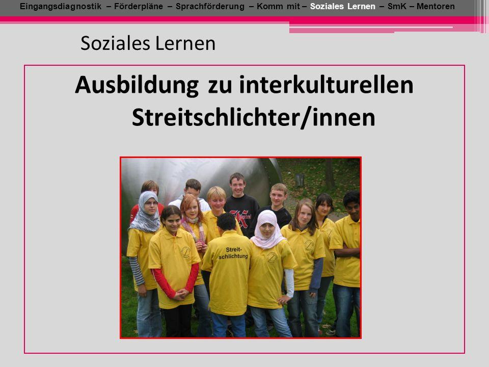Eingangsdiagnostik – Förderpläne – Sprachförderung – Komm mit – Soziales Lernen – SmK – Mentoren Soziales Lernen Ausbildung zu interkulturellen Streit