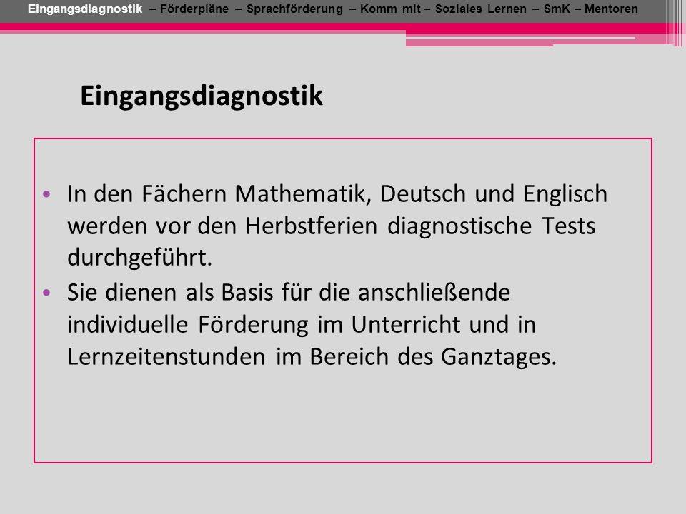 In den Fächern Mathematik, Deutsch und Englisch werden vor den Herbstferien diagnostische Tests durchgeführt. Sie dienen als Basis für die anschließen