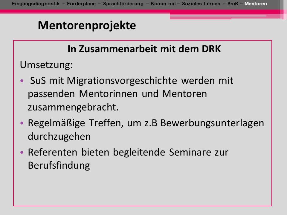 Eingangsdiagnostik – Förderpläne – Sprachförderung – Komm mit – Soziales Lernen – SmK – Mentoren Mentorenprojekte In Zusammenarbeit mit dem DRK Umsetz