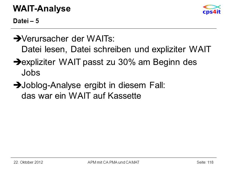 WAIT-Analyse Datei – 5 Verursacher der WAITs: Datei lesen, Datei schreiben und expliziter WAIT expliziter WAIT passt zu 30% am Beginn des Jobs Joblog-