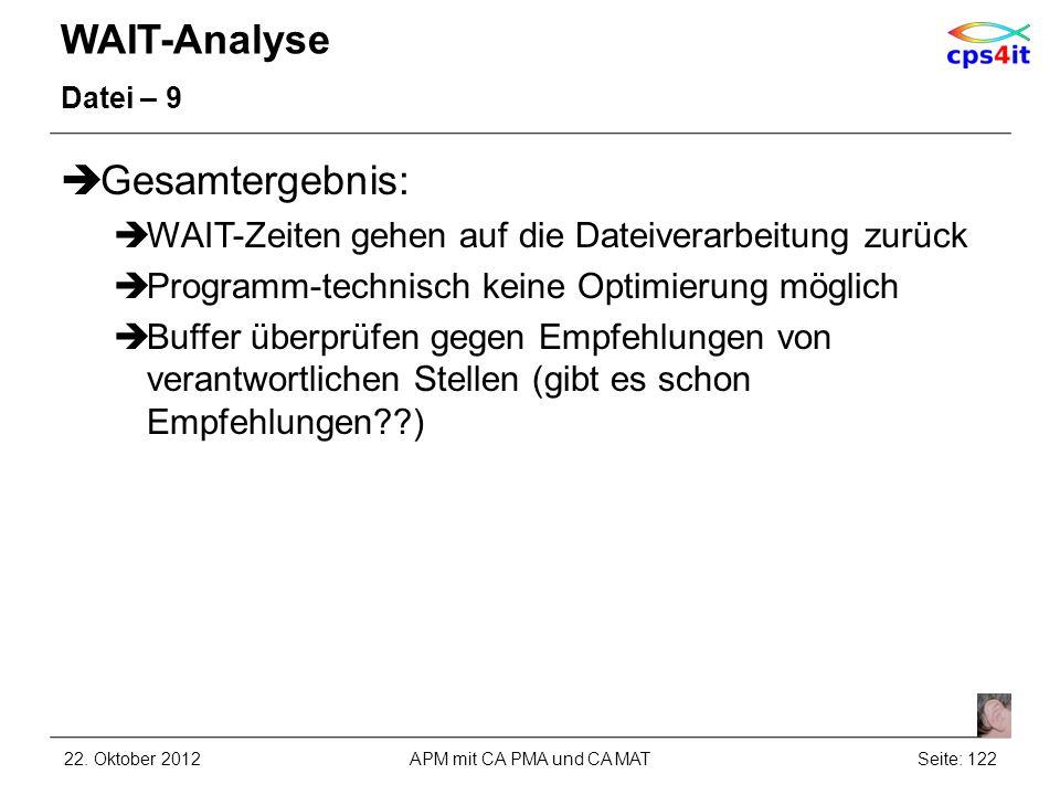 WAIT-Analyse Datei – 9 Gesamtergebnis: WAIT-Zeiten gehen auf die Dateiverarbeitung zurück Programm-technisch keine Optimierung möglich Buffer überprüf