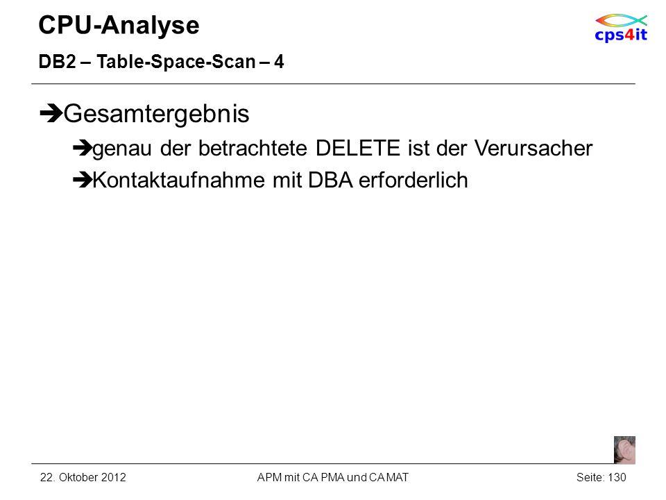 CPU-Analyse DB2 – Table-Space-Scan – 4 Gesamtergebnis genau der betrachtete DELETE ist der Verursacher Kontaktaufnahme mit DBA erforderlich 22. Oktobe