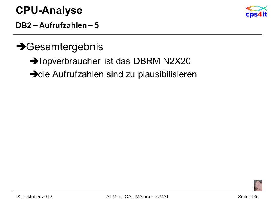 CPU-Analyse DB2 – Aufrufzahlen – 5 Gesamtergebnis Topverbraucher ist das DBRM N2X20 die Aufrufzahlen sind zu plausibilisieren 22. Oktober 2012APM mit